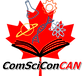 Logo of ComSciConCAN: a red mapple leaf with science icons emerging from an open book