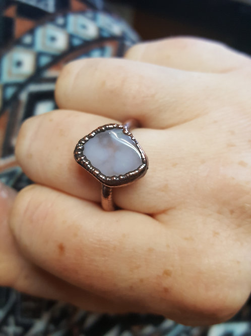 Plume Agate & Copper Ring Sz. 7.5