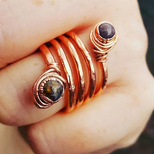 Ocean Jasper & Copper Ring Sz. 8
