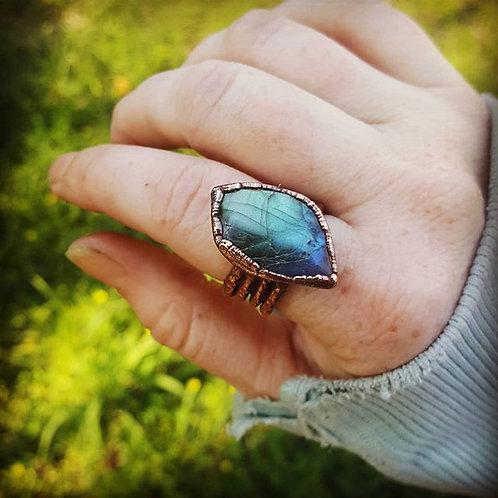 Labradorite Copper Ring Sz. 8.5