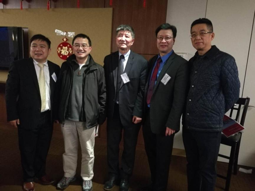 从左至右:韦仕登资本创始合伙人屈正哲、Karya对冲基金严鸣、俱乐部会长周谷声、北美高校联盟副会长刘思东。