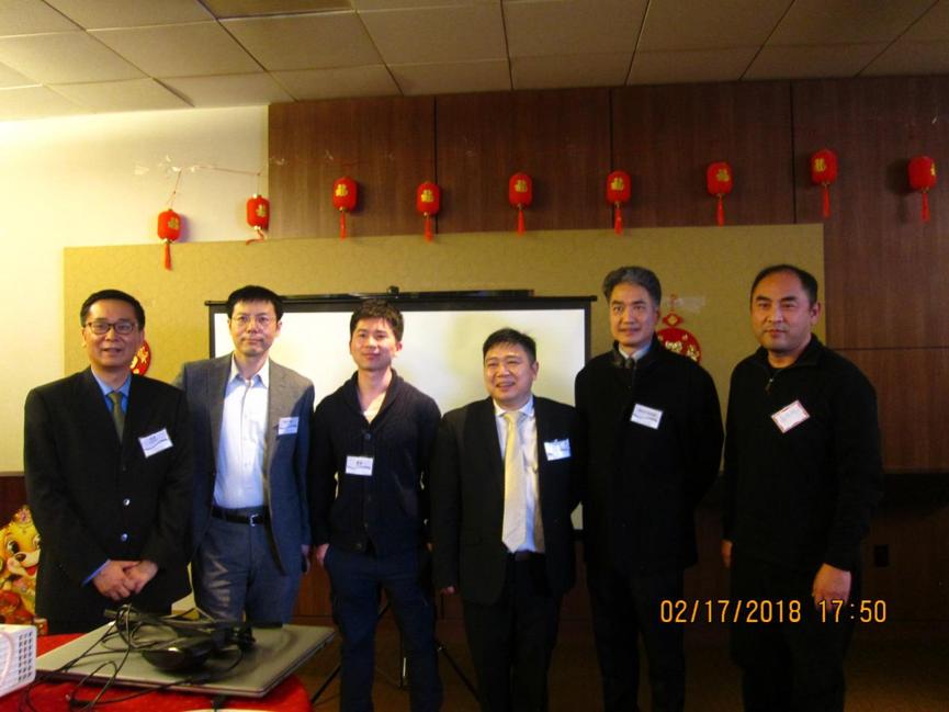 从左至右:黑石集团陈扬、纽约科技协会会长颜为民、普林斯顿学联负责人、韦仕登资本创始合伙人、俱乐部副会长屈正哲,对冲基金经理。