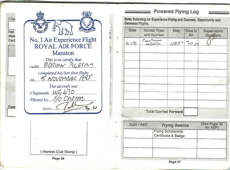 First flight logbook entry from Adrian P
