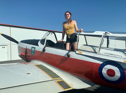 New airline pilot Jaimie Rousseau flying WG430