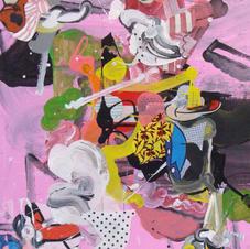 Pink Circus mixed media 16x20