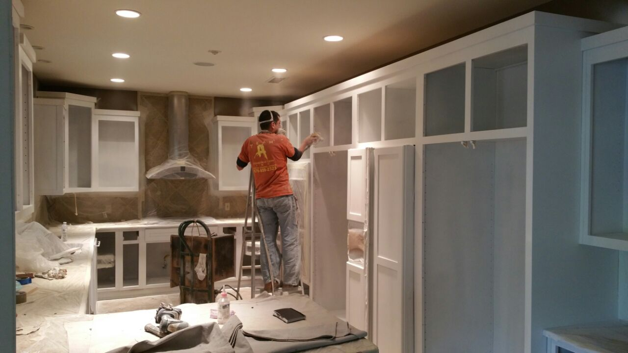 Spray-Painted Kitchen Cabinets