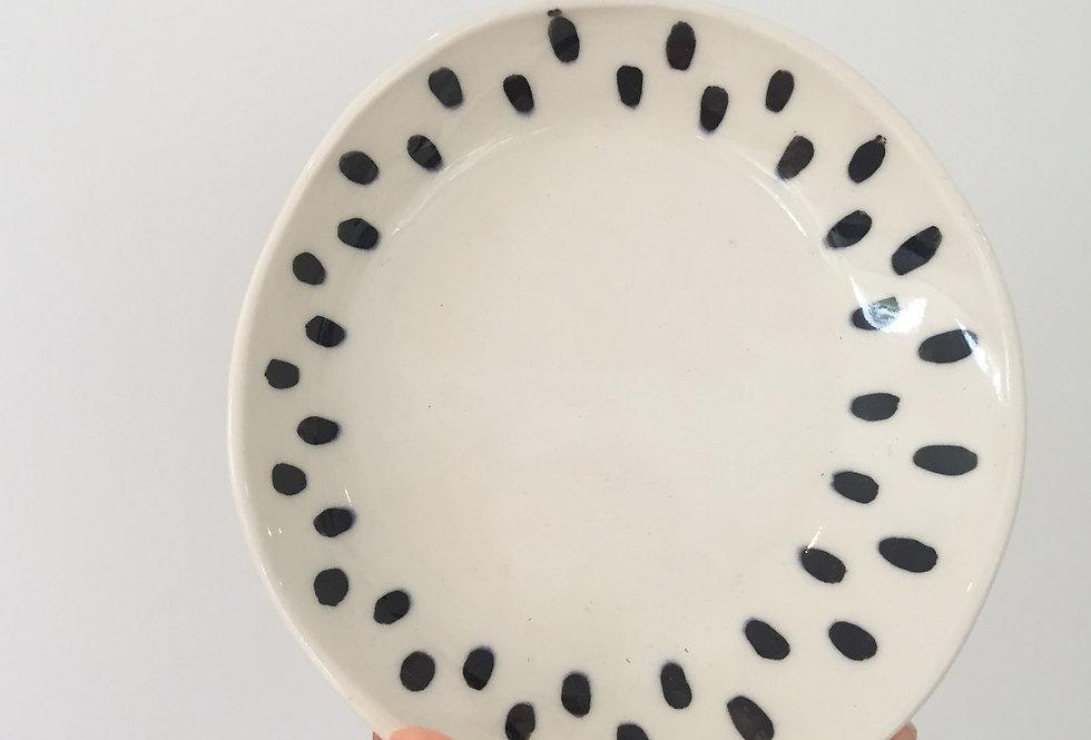 large dish- white + black spots