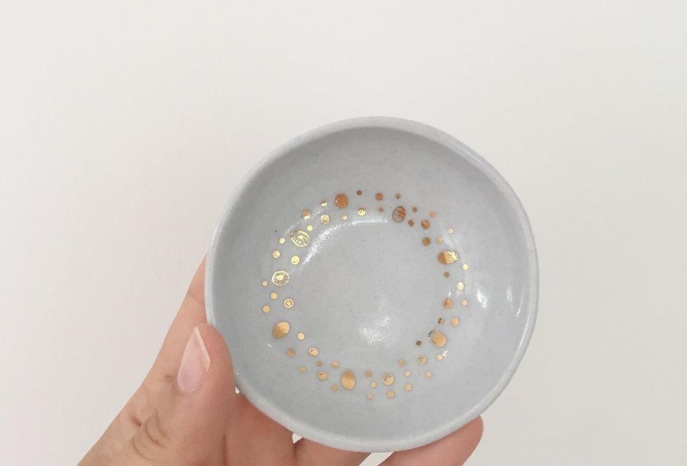 blue and gold wreath ceramic dish