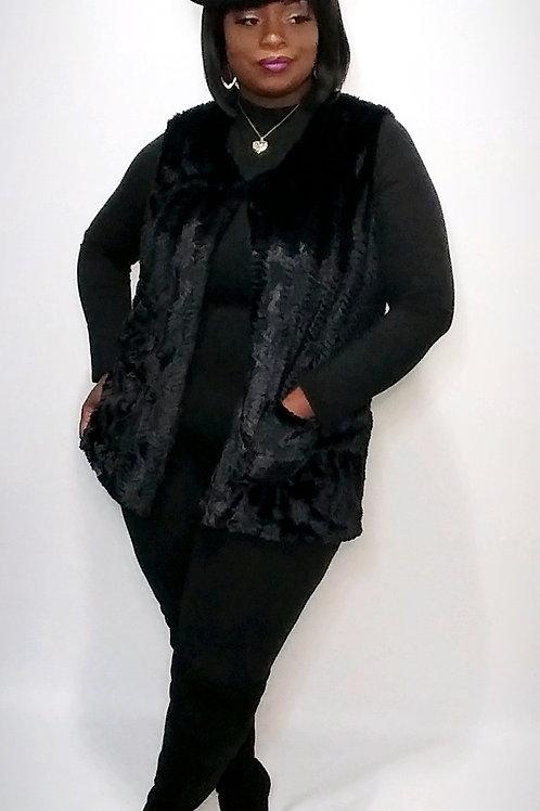 Faux Fur Vest (Black)
