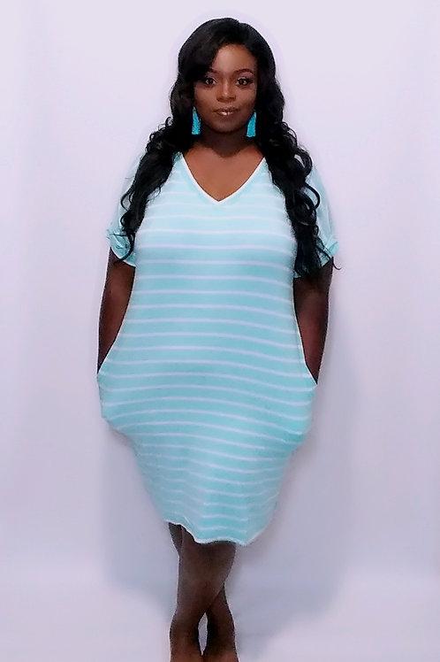 """Tia"" (stripe) everyday tee dress"
