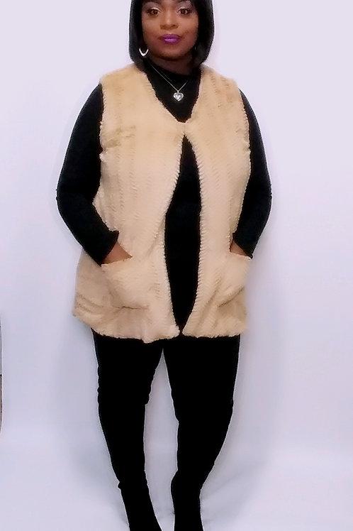 Faux Fur Vest (Beige)