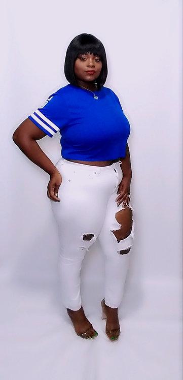 Jersey Crop Top (Blue)