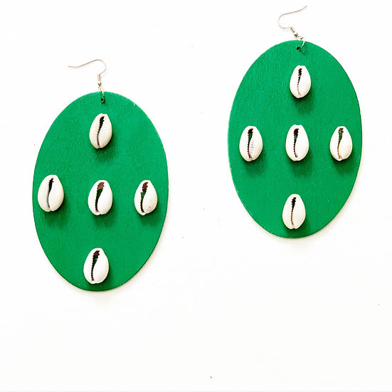 X-LARGE COWRIE SHEILD EARRINGS  (Click for additional colors)