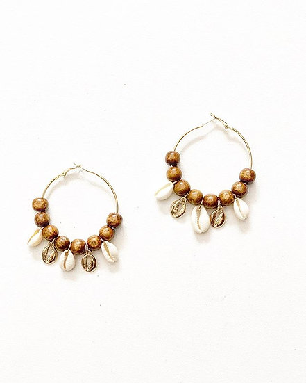 Cowrie Hoop Earrings (Click for additional colors)