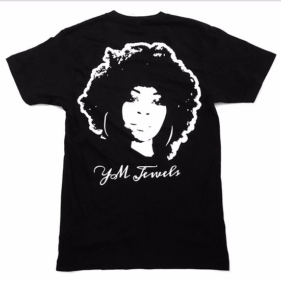 YM JEWELS BLACK T-SHIRT (WHITE PRINT ON BACK)