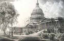Louis Orr, NATIONAL CAPITOL BUILDING, WASHINGTON, etching, 1931