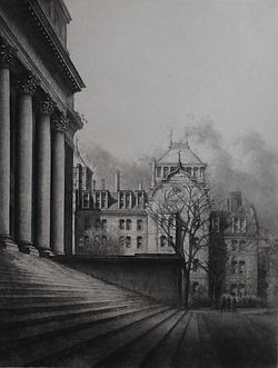 Louis Orr, WIDENER LIBRARY & WELD HALL, etching, 1929