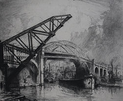 Louis Orr, CLEVELAND BRIDGE, PORTS OF AMERICA SERIES, etching, 1928