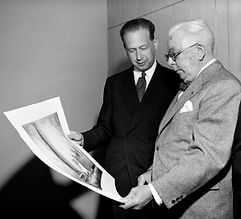 Louis Orr pictured with Secretary-General Dag Hammarkjold, 1953