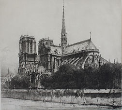 Louis Orr, NOTRE DAME CATHEDRAL, etching, 1918