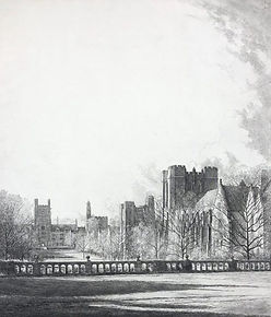 Louis Orr, QUADRANGLE DUKE UNIVERSITY, etching, 1937