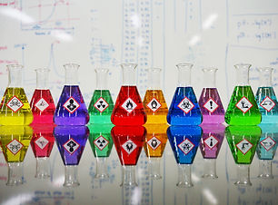 Many of Erlenmeyer flask with colorful l