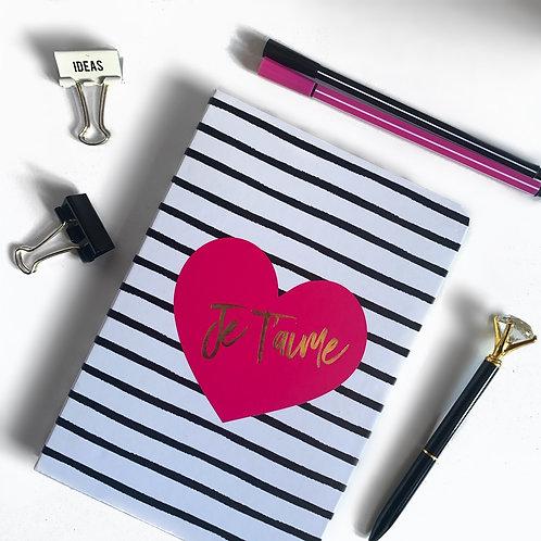 "A5 Monochrome Striped ""Je t'aime"" notebook"