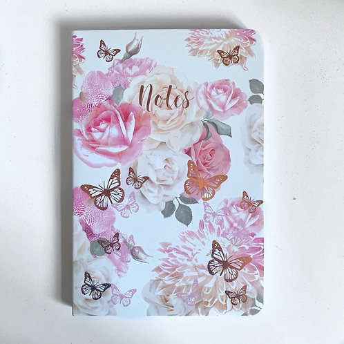 "A5 Pink Floral Butterfly ""Notes"" Notebook"