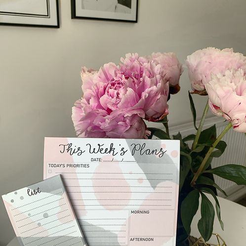 Grey and Pink Planner and List Pad Set