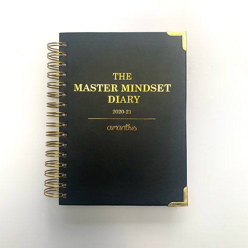 FRONT VIEW MASTER MINDSET DIARY, WHITE BACKGROUND, BLACK OWNED PLANNER COMPANY, PROFESSIONAL FUNCTIONAL PLANNER