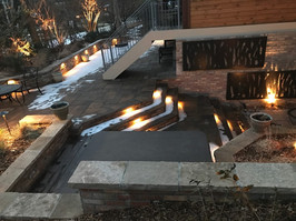 Hardscape with Stairs and Lighting