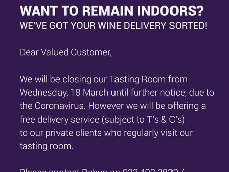 WANT TO REMAIN INDOORS?  WE'VE GOT YOUR WINE DELIVERY SORTED!
