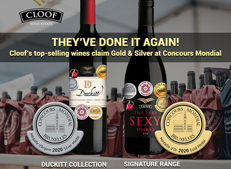 THEY'VE DONE IT AGAIN! Cloof's top-selling wines claim Gold & Silver at Concours Mondial