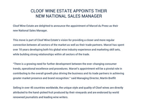 CLOOF WINE ESTATE APPOINTS THEIR NEW NATIONAL SALES MANAGER