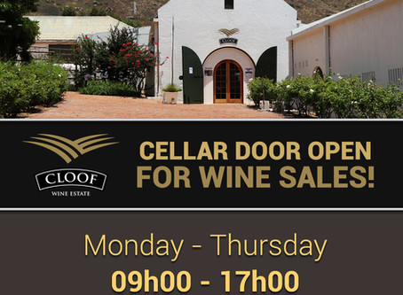CLOOF CELLAR DOOR OPEN FOR WINE SALES!