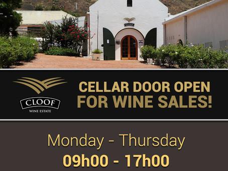 CLOOF CELLAR DOOR OPEN FOR WINE SALES!