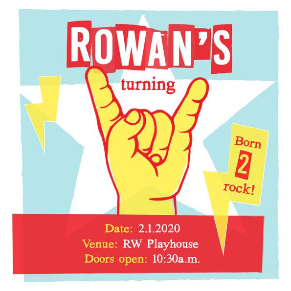 Rowan' Turning Two invitation