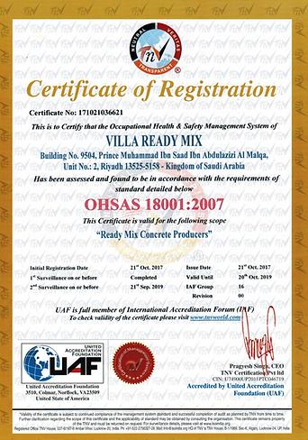 1SURV18- Certificate 18k- Villa Ready Mi