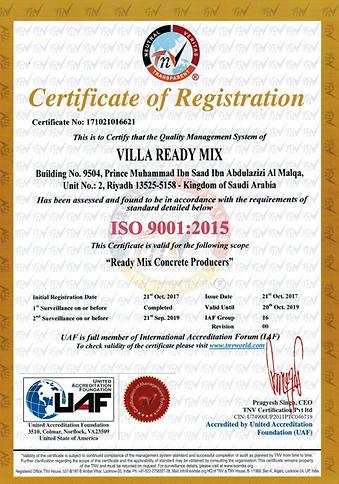 1SURV18- Certificate 9k- Villa Ready Mix