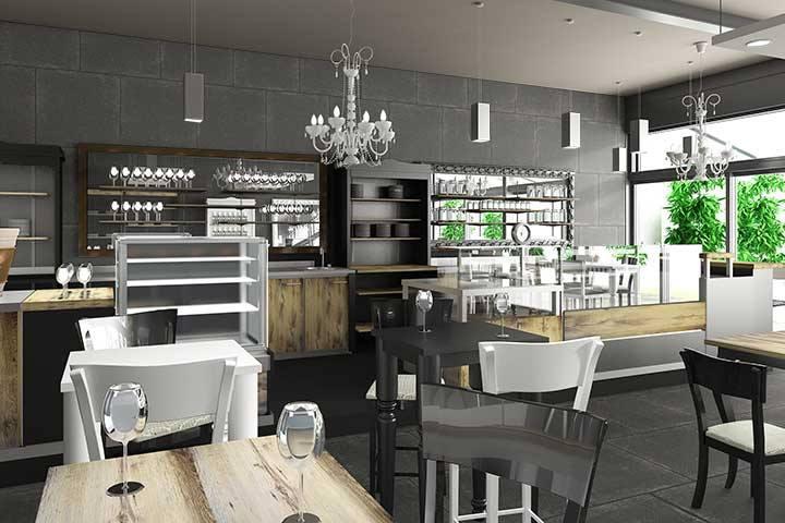 Lounge bar, arredo componibile, banco consumazione