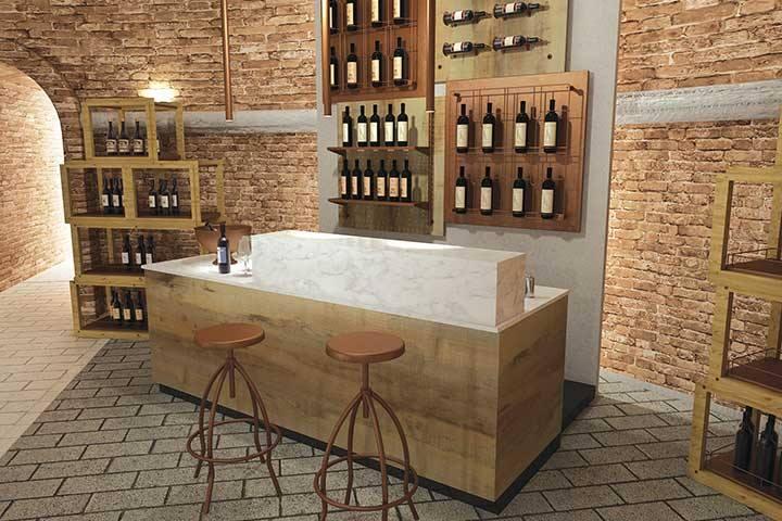 Banco vineria, espositore vini