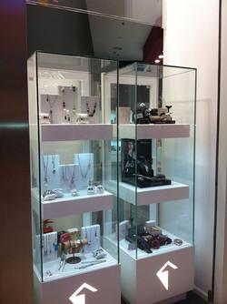 Colonna vetrina luminosa, espositore gioielleria, orologeria e bigiotteria