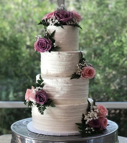 Purple & Blush Floral Cake