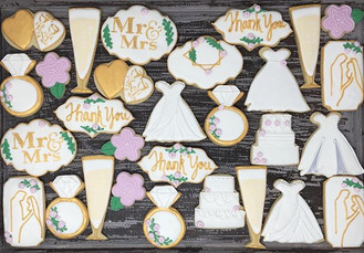 Gold and Blush Wedding Cookies