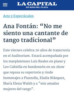 ANA FONTÁN 100 AÑOS PIAZZOLLA / 20 AÑOS /  LA CAPITAL _ AUDITORIUM