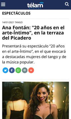 ANA FONTÁN PICADERO 20 AÑOS