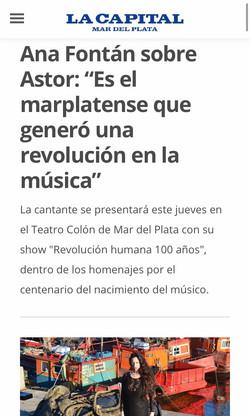 ANA FONTÁN REVOLUCIÓN HUMANA 100 AÑOS PIAZZOLLA LA CAPITAL MAR DEL PLATA _ TEATRO COLON