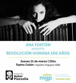 ANA FONTÁN PRESENTA REVOLUCIÓN HUMANA 100 AÑOS _ Jueves 11 de Marzo 21_00h _ Teatro Colón