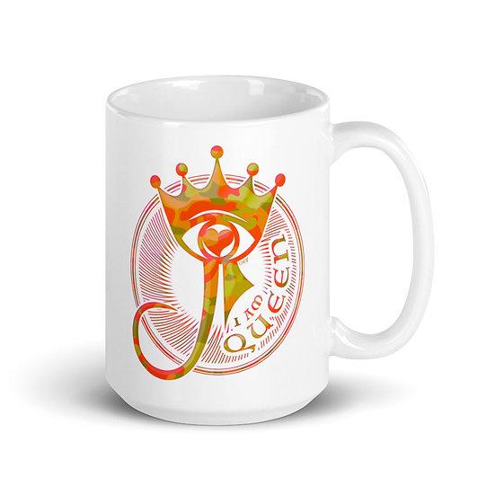 I Am Queen - Orange Camouflage - White glossy mugWhite glossy mug