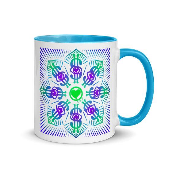 I Am Wealthy | Dollar Sign Mandala | Ceramic Mug | Blue Inside | 11 oz